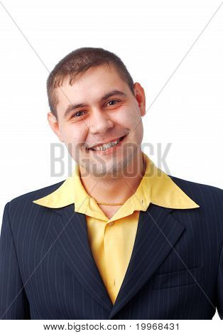 Smiling Man In Yellow Shirt.