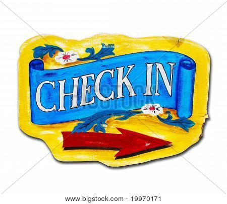 Check In Letter Wood Board Isolated