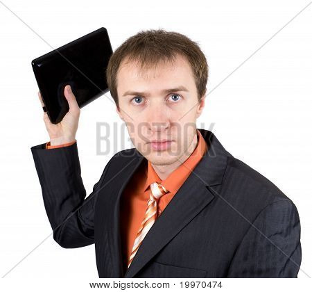 The young businessman throws out laptop