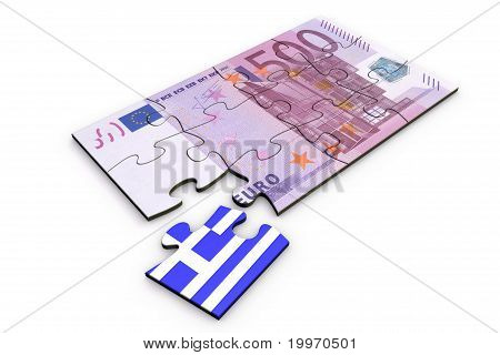 500 Euro Note Puzzle And A Greek Piece