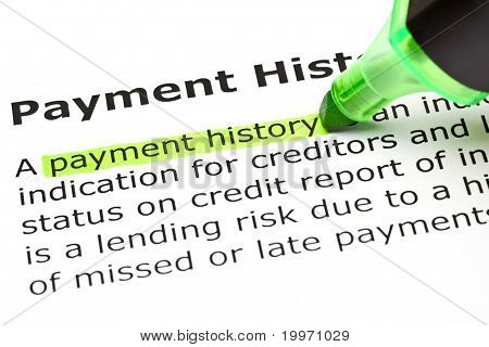 'Payment History' Highlighted In Green