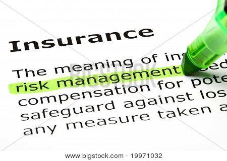 """""""Risikomanagement"""" Hervorhebung markierte, unter """"Versicherung"""""""