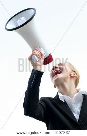Businesswoman Shouting Through Megaphone