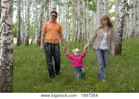 Happy Family At The Woods