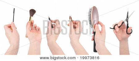 Hairdresser Salon Makeup Tools on White