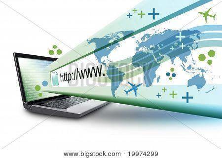 Resumo da laptop de Internet com URL