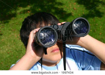Boy Using His Binoculars