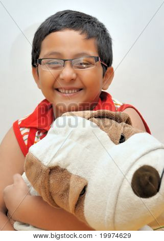 Happy Young Asian, Bengali Boy With His Soft Toy