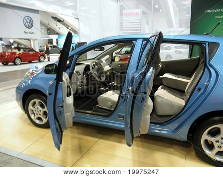 Nissan Leaf On Display With Car Doors Open
