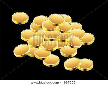 Vector Golden Coins On Black Background
