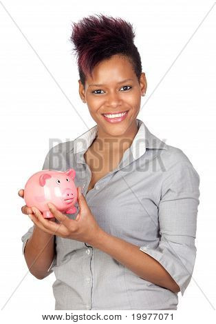 Exotic African Girl With A Money-box