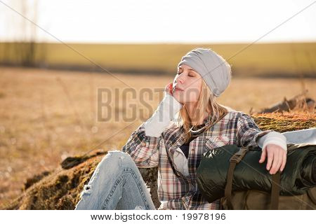 Woman In Countryside Backpack