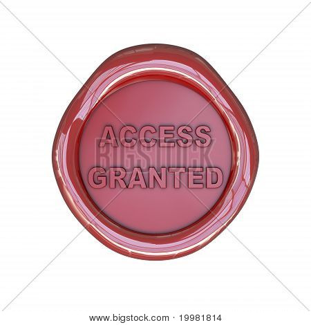 Wax seal with access granted text
