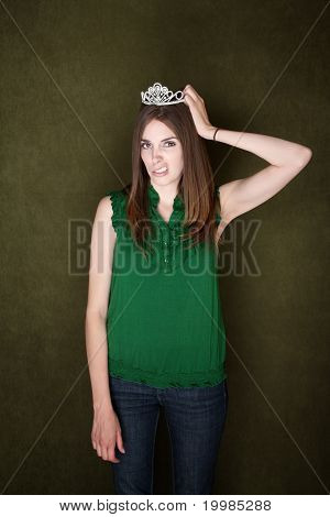 Woman Unhappy With Her Tiara