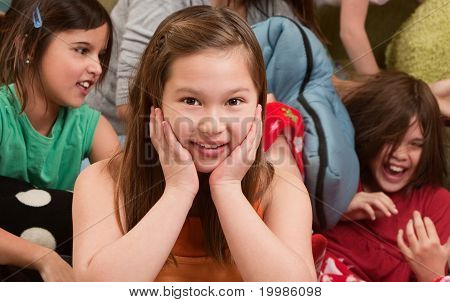 Smiling Little Girl At Sleepover