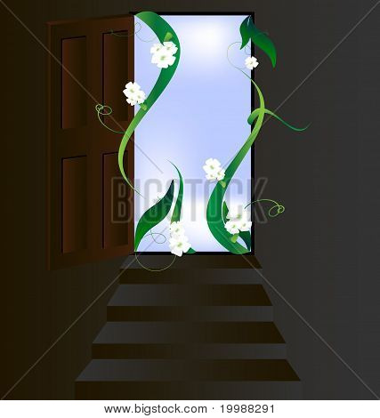 open door and flowers
