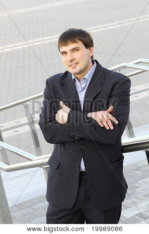Young business man outside