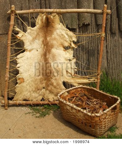 Animal Pelt And Kindling Basket