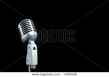 Vintage Microphone On Black