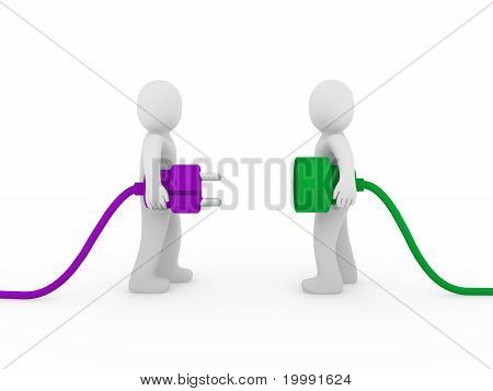 3D Men Plug  Purple Green