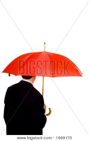 Man With Red Umbrells