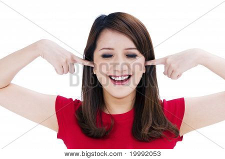 Happy Young Businesswoman With Fingers In Her Ears