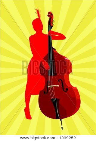 The Girl Playing On A Contrabass.