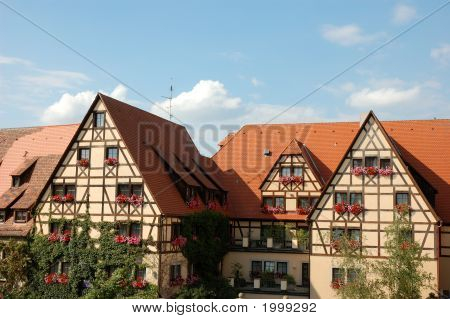 Traditional half timbered houses in germany stock photo for Big houses in germany