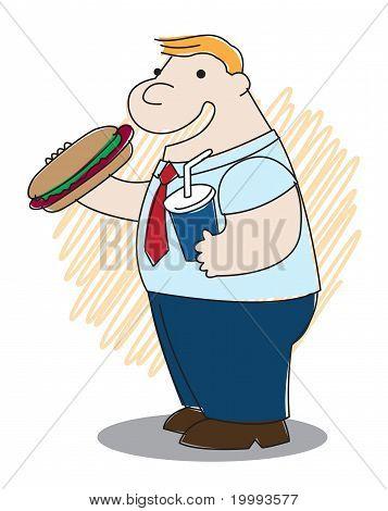 Fat Man With Burger