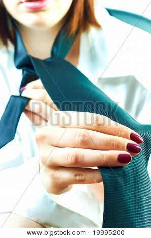 Business Woman Dressing For Work, Putting Tie On