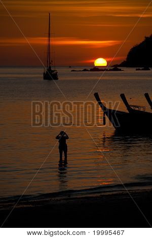Sailboat Longtail Sunset Silhouettes