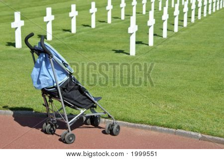 A Pushchair In Normandy American Cemetery