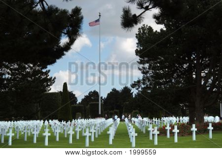 Visitors In Normandy American Cemetery