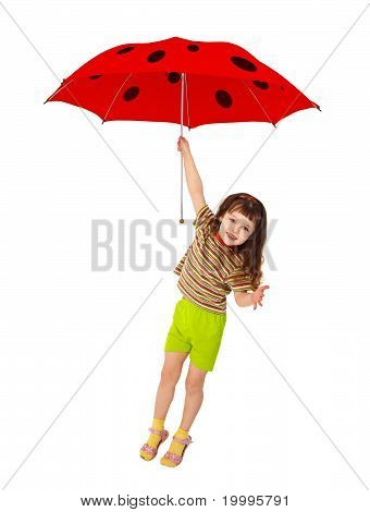 Little Girl Flying On Red Umbrella - Ladybird