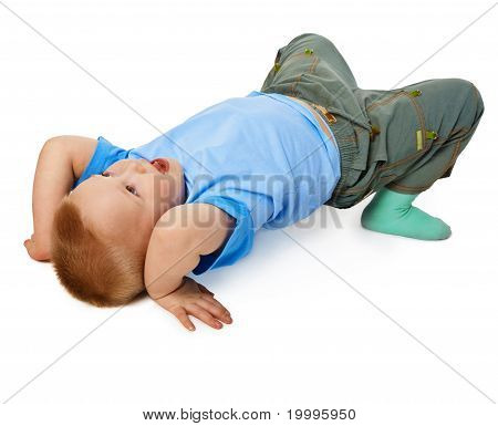 Child Tries To Do A Gymnastic Stance On Floor