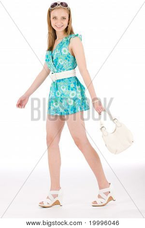 Teenager Woman Happy In Summer Dress