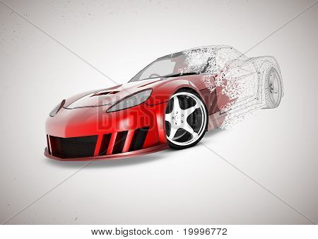 3D Car illustrations with wireframe