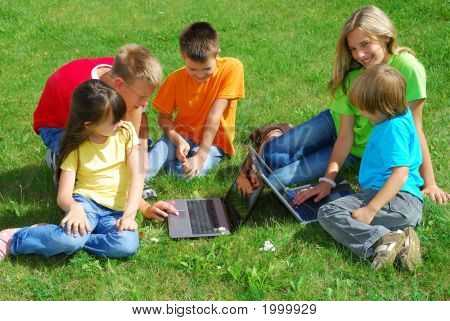 Children With Laptop Computers