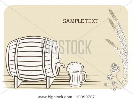 Beer Keg And Glass.vector Background For Text