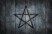image of pentacle  - pentacle on wooden grunge background  - JPG