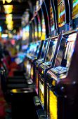 stock photo of slot-machine  - Row of slot machines in Las Vegas - JPG