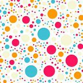 Постер, плакат: Colorful Polka Dots Seamless Pattern On Black 18 Background Marvelous Classic Colorful Polka Dots T