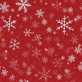 White Snowflakes Seamless Pattern On Red Christmas Background. Chaotic Scattered White Snowflakes. B poster