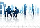 picture of person silhouette  - Editable vector silhouettes of people in a busy office with reflections - JPG