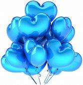 image of gay wedding  - Party balloons heart shaped cyan blue - JPG