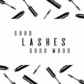 Fashion Typography Inscription: Good Lashes Good Mood. Lash Maker Typography Poster With Background poster