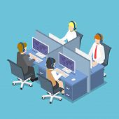 Isometric Business People Working With Headset In A Call Center And Service. poster