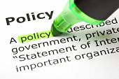 stock photo of policy  - Definition of the word Policy highlighted in green with felt tip pen - JPG
