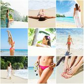 Collage: spa, massaging, resort, healthcare. Summer vacation concept collection. poster