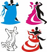 image of ballroom dancing  - color competitive dance icons and figure  - JPG